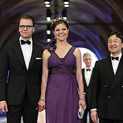 From left: Prince Daniel of Sweden, his wife Crown Princess Victoria, center, and Crown Prince Naruhito of Japan, right, arrive for a dinner with members of the royal family and guests, at the invitation of Queen Beatrix, at the Rijksmuseum in Amsterdam, The Netherlands, on Monday night, April 29, 2013. HANDOUT/ROBIN UTRECHT