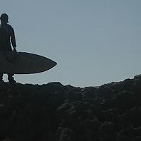 Surfers at Santa Monica Beach.