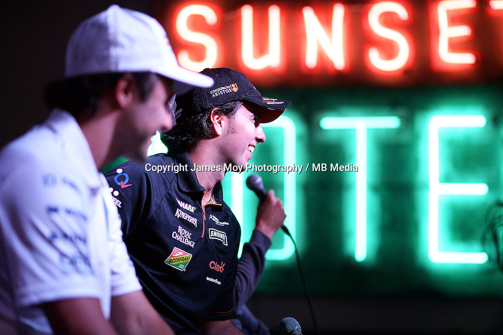 (L to R): Felipe Massa (BRA) Williams and Sergio Perez (MEX) Sahara Force India F1 at the Fans' Forum.<br /> United States Grand Prix, Wednesday 29th October 2014. Circuit of the Americas, Austin, Texas, USA.