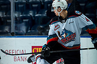 KELOWNA, BC - FEBRUARY 15: Devin Steffler #4 of the Kelowna Rockets dangles the puck during warm up against the Red Deer Rebels at Prospera Place on February 15, 2020 in Kelowna, Canada. (Photo by Marissa Baecker/Shoot the Breeze)