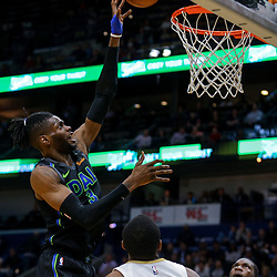 Mar 20, 2018; New Orleans, LA, USA; Dallas Mavericks center Nerlens Noel (3) shoots over New Orleans Pelicans forward Darius Miller (21) during the first quarter at the Smoothie King Center. Mandatory Credit: Derick E. Hingle-USA TODAY Sports