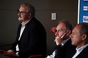 Sacchetti, Petrucci, Ettore Messina<br /> Raduno Nazionale Maschile Senior<br /> Presentazione Sacchetti, T-Hotel<br /> Cagliari, 05/08/2017<br /> Foto Ciamillo-Castoria/ GiulioCIamillo