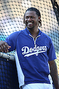 LOS ANGELES, CA - AUGUST 20:  Hanley Ramirez #13 of the Los Angeles Dodgers laughs during batting practice before the game against the San Diego Padres at Dodger Stadium on Wednesday, August 20, 2014 in Los Angeles, California. The Padres won the game 4-1. (Photo by Paul Spinelli/MLB Photos via Getty Images) *** Local Caption *** Hanley Ramirez