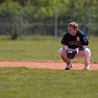 25 April 2010: Aaron Hornostaj of Rouen rests at second base during game 1/week 3 of the French Elite season won 12-4 by Rouen over the PUC, at the Pershing Stadium in Vincennes, near Paris, France.