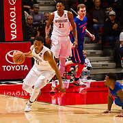 27 February 2018: San Diego State men's basketball hosts Boise State in it's last meet up of the regular season at Viejas Arena. San Diego State Aztecs forward Matt Mitchell (11) steals the ball from a Boise State player in the first half. The Aztecs lead 38-37 at halftime. <br /> More game action at sdsuaztecphotos.com