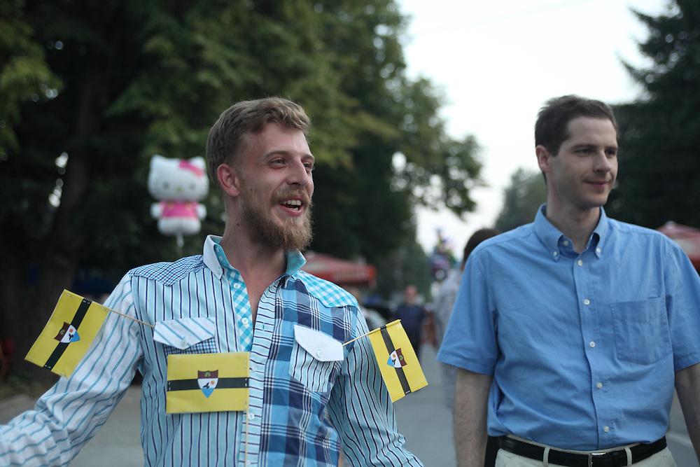 LSA Dutch volunteer Yoshi Livo with Pierre-Louis Boitel, the Ambassador to Liberland in France