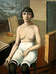 Painting called Jenny Seated by Rudolf Schlichter at Berlinische Galerie modern art museum in Berlin Germany
