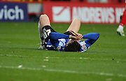 Nothing was going Sheffield Wednesday's way in the first half, they hardly had a shot on goal during the Sky Bet Championship match between Charlton Athletic and Sheffield Wednesday at The Valley, London, England on 7 November 2015. Photo by Matthew Redman.