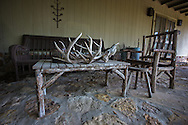 Bones and antlers on a table outside of the home  of Hugh A. Fitzsimons III, a buffalo rancher  in Carrizo Springs Texas, part of the Eagle Ford Shale.  Fitzsimons land is part of a trust that has agreed to lease the mineral rights so fracking, though not happening yet on his land, will start in the near future. Fitzsimons, concerned with the amount of water the fracking industry uses ran and won a seat on the Carrizo Springs water-board so he could have a voice in protecting the areas water.
