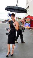 03/08/2012.Eilis O Neill Loughrea got an admirer at the Friday evening meeting of the Galway Races. Photo:Andrew Downes