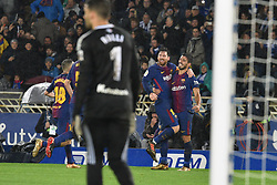 January 14, 2018 - San Sebastian, Guipuzcoa, Spain - Lionel Messi of Barcelona celebrates with teammates after scoring during the Spanish league football match between Real Sociedad and Barcelona at the Anoeta Stadium on 14 January 2018 in San Sebastian, Spain  (Credit Image: © Jose Ignacio Unanue/NurPhoto via ZUMA Press)