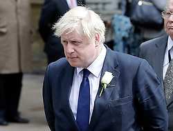 © Licensed to London News Pictures. 20/06/2016. London, UK. BORIS JOHNSON MP arrives at St Margaret's Church, Westminster Abbey to take part in a Service of Prayer and Remembrance to commemorate Jo Cox MP, who was killed in her constituency on June 16, 2016. Photo credit: Peter Macdiarmid/LNP