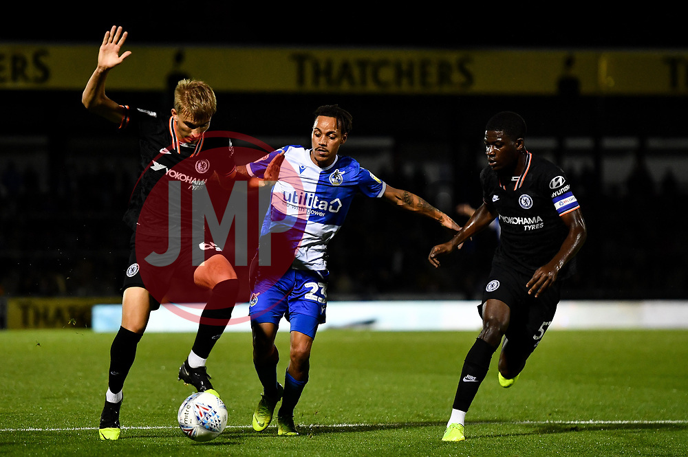 Kyle Bennett of Bristol Rovers challenges George Nunn of Chelsea and Clinton Mola of Chelsea - Mandatory by-line: Ryan Hiscott/JMP - 24/09/2019 - FOOTBALL - Memorial Stadium - Bristol, England - Bristol Rovers v Chelsea - Leasing.com Trophy