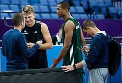 Jaka Lenart, Luka Doncic of Slovenia, Anthony Randolph of Slovenia, Jaka Lakovic, assistant coach of Slovenia during a training session of Slovenian National Basketball team ahead of the FIBA EuroBasket 2017 match between Slovenia and Poland at Hartwall Arena in Helsinki, Finland on August 30, 2017. Photo by Vid Ponikvar / Sportida