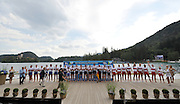 Bled, SLOVENIA.  Men' eights  Silver GBR M8+, centre Gold Medal GER M8+ and Bronze Medal CAN M8+,   [Day Five]  at the 2011 FISA World Rowing Championships, Lake Bled. Thursday  01/09/2011  [Mandatory Credit; Peter Spurrier/ Intersport Images]