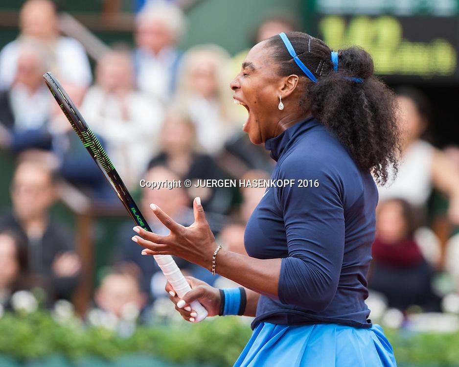 Serena Williams (USA)schreit veraergert,Aerger,Frust,Emotion ,Damen Final, Endspiel,<br /> <br /> Tennis - French Open 2016 - Grand Slam ITF / ATP / WTA -  Roland Garros - Paris -  - France  - 4 June 2016.