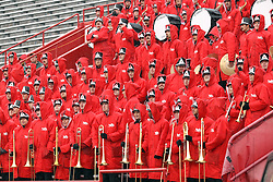 31 October 2015:  The Big Red Marching Maching Band in rain gear for the NCAA FCS Football between Indiana State Sycamores and Illinois State Redbirds at Hancock Stadium in Normal IL (Photo by Alan Look)