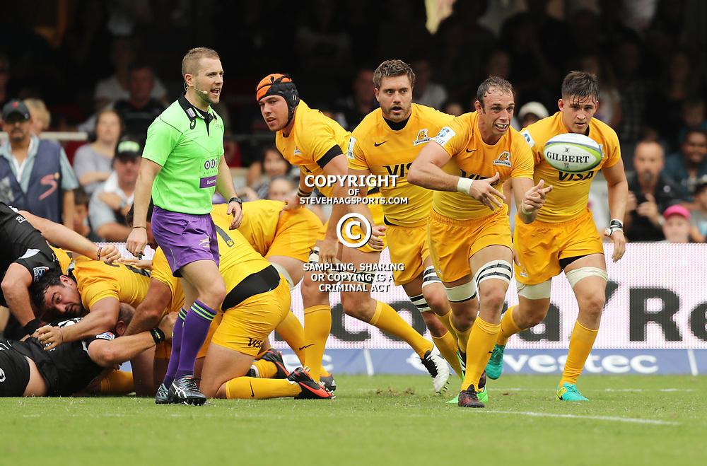 Leonardo Senatore of the Jaguares during the Super Rugby match between the Cell C Sharks and the Jaguares  April 8th 2017 - at Growthpoint Kings Park,Durban South Africa Photo by (Steve Haag)