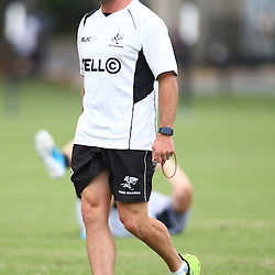 DURBAN, SOUTH AFRICA, Thursday 14, January 2016 - Johan Pretorius Head Strength & Conditioning Coach during The Cell C Sharks Pre Season training Thursday 14th January 2016,for the 2016 Super Rugby Season at Growthpoint Kings Park in Durban, South Africa. (Photo by Steve Haag)<br /> images for social media must have consent from Steve Haag