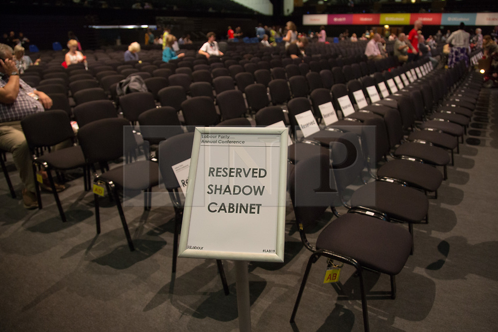 @Licensed to London News Pictures 21/09/2019. Brighton. Labour Party members begin to file into the main auditorium at The Brighton Centre today where the first day of the 5 day long Labour Party Conference takes place in Brighton. Photo credit: Manu Palomeque/LNP