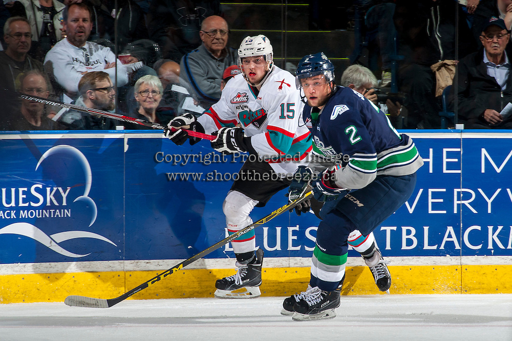 KELOWNA, CANADA - APRIL 22: Jerret Smith #2 of Seattle Thunderbirds is checked by Tomas Soustal #15 of Kelowna Rockets on April 22, 2016 at Prospera Place in Kelowna, British Columbia, Canada.  (Photo by Marissa Baecker/Shoot the Breeze)  *** Local Caption *** Tomas Soustal; Jerret Smith;