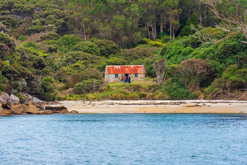 Stewart Island, New Zealand--February 22, 2018. A group of four people stands outside a small stone house in a forest on Stewart Island. Editorial use only.