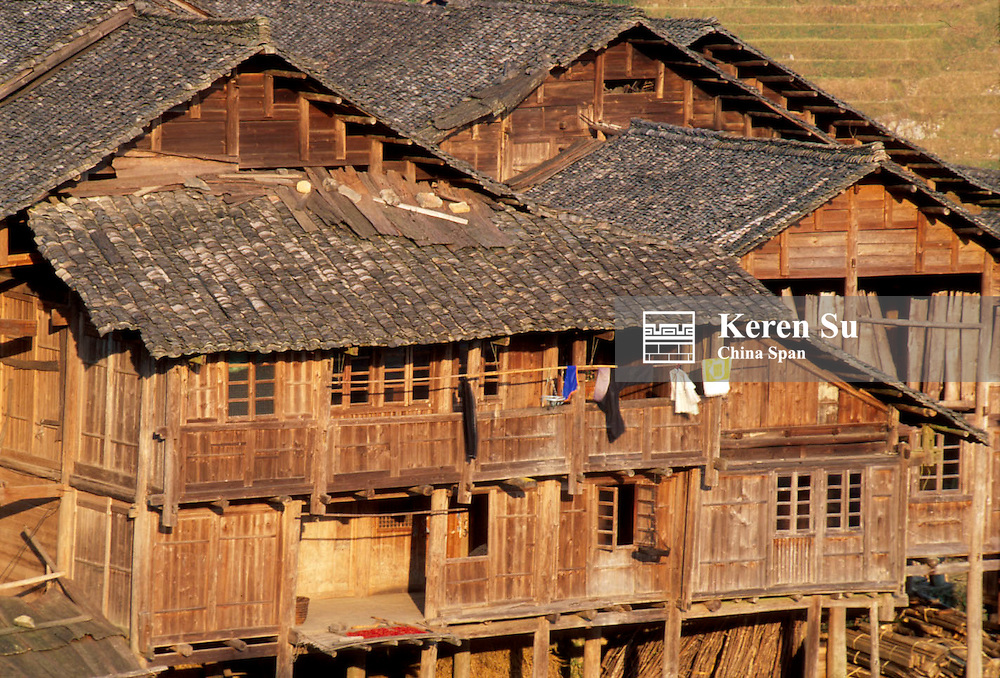 Traditional wood house in a village in the mountain, Longsheng, Guangxi Province, China
