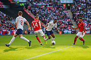 Raheem Sterling of England tries to break through the Bulgaria defence during the UEFA European 2020 Qualifier match between England and Bulgaria at Wembley Stadium, London, England on 7 September 2019.
