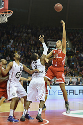 25.02.2014, Audi Dome, Muenchen, GER, Beko Basketball BL, FC Bayern Muenchen Basketball vs Artland Dragons, 22. Runde, im Bild Lawrence Hill (Artland Dragons), Anthony King (Artland Dragons), Yassin Idbihi (FC Bayern Muenchen Basketball), v li Aktion // during the Beko Basketball Bundes league 22. round match between FC Bayern Munich Basketball and Artland Dragons at the Audi Dome in Muenchen, Germany on 2014/02/25. EXPA Pictures © 2014, PhotoCredit: EXPA/ Eibner-Pressefoto/ Buthmann<br /> <br /> *****ATTENTION - OUT of GER*****