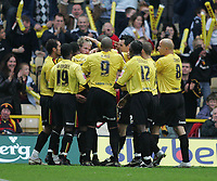 Photo: Lee Earle.<br /> Watford v Wolverhampton Wanderers. Coca Cola Championship. 29/10/2005. Watford players congratulate Jay DeMerit after he scored their first.