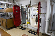 "Crew mess below decks of USS Missouri. Ordered in 1940 and active in June 1944, the USS Missouri (""Mighty Mo"") was the last battleship commissioned by the United States. She is best remembered as the site of the surrender of the Empire of Japan which ended World War II on September 2, 1945 in Tokyo Bay. In the Pacific Theater of World War II, she fought in the battles of Iwo Jima and Okinawa and shelled the Japanese home islands. She fought in the Korean War from 1950 to 1953. Decommissioned in 1955 into the United States Navy reserve fleets (the ""Mothball Fleet""), she was reactivated and modernized in 1984 and provided fire support during Operation Desert Storm in January-February 1991. The ship was decommissioned in March 1992. In 1998, she was donated to the USS Missouri Memorial Association and became a museum at Pearl Harbor, on the island of Oahu, Hawaii, USA."