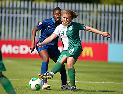 HAVERFORDWEST, WALES - Sunday, August 25, 2013: Wales' Amy Wathan in action against France during the Group A match of the UEFA Women's Under-19 Championship Wales 2013 tournament at the Bridge Meadow Stadium. (Pic by David Rawcliffe/Propaganda)