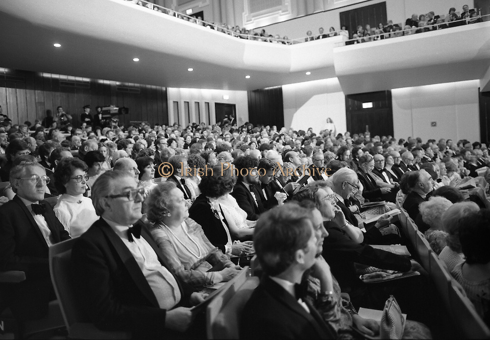 State Opening Of The National Concert Hall. (N92)..1981..09.09.1981..9th September 1981..The President ,Dr Patrick Hillery, officially opened the new National Concert Hall,Earlsfort Terrace, Dublin. The state opening was followed by the premier concert performed by the Radio Telefís Eireann Symphony Orchestra with a large cast of soloists, choirs and the RTESO leader Audrey Park and conducted by RTE's Principal conductor Colman Pearce...A view of the specially invited audience at the State Opening of the Concert Hall.