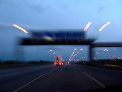 UK ENGLAND 6JUL08 - Evening lights while driving along the A1M southbound from Newcastle, northern England...jre/Photo by Jiri Rezac..© Jiri Rezac 2008..Contact: +44 (0) 7050 110 417.Mobile:  +44 (0) 7801 337 683.Office:  +44 (0) 20 8968 9635..Email:   jiri@jirirezac.com.Web:    www.jirirezac.com..All images © Jiri Rezac 2008. All rights reserved.
