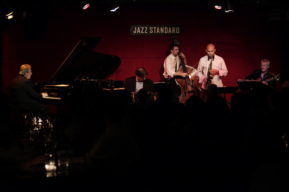 Musicians Pablo Ziegler on piano, Miguel Zenon on saxophone, Claudio Ragazzi on guitar, Hector Del- Curto on bandoneon and Pedro Giraudo on bass perform at Jazz Standard on December 10,  2009 in New York City. photo by Joe Kohen for The New York Times