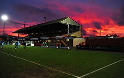 Red sky sets over the LCI Rail Stadium- Mandatory by-line: Nizaam Jones/JMP- 27/01/2018 - FOOTBALL - LCI Rail Stadium- Cheltenham,England - Cheltenham Town v Barnet -Sky Bet League Two