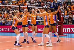 26-08-2017 NED: World Qualifications Bulgaria - Netherlands, Rotterdam<br /> De Nederlandse volleybalsters hebben in Rotterdam het kwalificatietoernooi voor het WK van volgend jaar in Japan ongeslagen afgesloten. Oranje was in z'n laatste wedstrijd met 3-0 te sterk voor Bulgarije: 25-21, 25-17, 25-23. / Maret Balkestein-Grothues #6 of Netherlands, Femke Stoltenborg #2 of Netherlands, Robin de Kruijf #5 of Netherlands, Anne Buijs #11 of Netherlands, Celeste Plak #4 of Netherlands