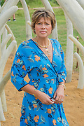 Kate Silverton a Tusk ambassador on the Not For Sale garden by Mark Whyte and Sharmayne Ferguson, to highlight the illegal ivory trade - The Hampton Court Flower Show, organised by the Royal Horticultural Society (RHS). In the grounds of the Hampton Court Palace, London.
