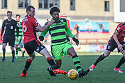 Forest Green Rovers Reuben Reid(26) on the ball during the EFL Sky Bet League 2 match between Morecambe and Forest Green Rovers at the Globe Arena, Morecambe, England on 17 February 2018. Picture by Shane Healey.