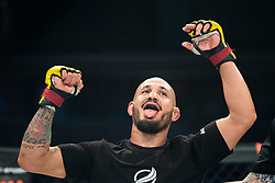 April 28, 2018 - GöTeborg, SVERIGE - 180428 Rafael Macedo jublar efter vinsten mot Perry Goodwin under MMA-galan Cage Warriors 93 den 28 april 2018 i Göteborg  (Credit Image: © Mathias Bergeld/Bildbyran via ZUMA Press)