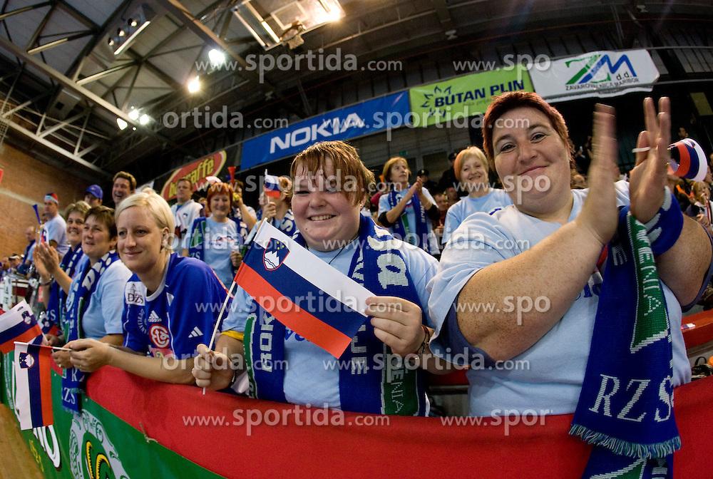 Slovenian fans at Women European Championships Qualifying handball match between National Teams of Slovenia and Belarus, on October 17, 2009, in Kodeljevo, Ljubljana.  (Photo by Vid Ponikvar / Sportida)
