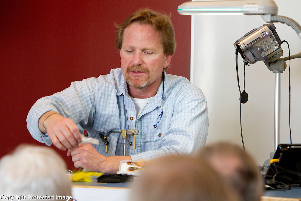 Kelly Galloup  tying flies at Tom Helgeson's Great Waters Fly Fishing Expo 2012