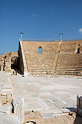 The amphitheater, on the city?s southern shore Caesarea, a town built by Herod the Great about 25 - 13 BC, lies on the sea-coast of Israel about halfway between Tel Aviv and Haifa, Remains of all the principal buildings erected by Herod existed down to the end of the 19th century. Remains of the medieval town are also visible, consisting of the walls (one-tenth the area of the Roman city), the castle, the site of the modest Crusader cathedral and church.