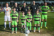 Matchday mascots during the EFL Sky Bet League 2 match between Forest Green Rovers and Milton Keynes Dons at the New Lawn, Forest Green, United Kingdom on 30 March 2019.