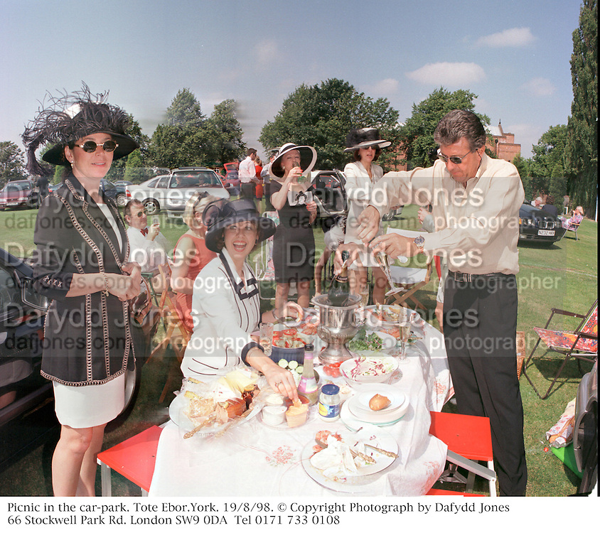 Picnic in the car-park. Tote Ebor.York. 19/8/98. © Copyright Photograph by Dafydd Jones<br /> 66 Stockwell Park Rd. London SW9 0DA<br /> Tel 0171 733 0108