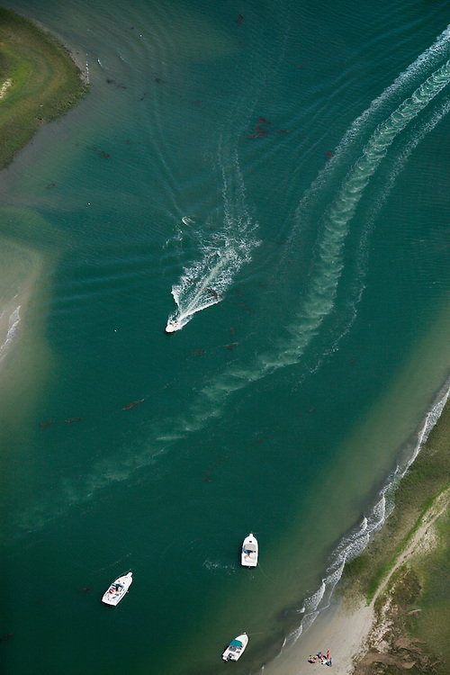 Wrightsville Beach, North Carolina - May 20: Aerial shoots of boats in and around the waterways of Wrightsville Beach NC, taken May, 20, 2007.