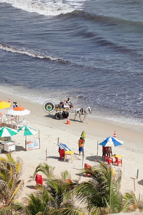 Homem em carroca puxada a cavalo em praia do Genipabu, Natal./ Man in horse-drawn cart on the Genipabu beach, Natal. Rio Grande do Norte, Brasil - 2013