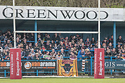 Bradford Bulls fans in the ground before the Kingstone Press Championship match between Oldham Roughyeds and Bradford Bulls at Bower Fold, Oldham, United Kingdom on 2 April 2017. Photo by Mark P Doherty.