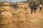 LUOYANG, CHINA - MARCH 16: (CHINA OUT) <br /> <br /> Citizens visit scarestraws at a construction site on March 16, 2016 in Luoyang, Henan Province of China. Various straw dolls like dinosaurs, ducks, Minions, elephants, pandas and small trains as well we others are made at a construction site which attracted citizens and visitors.<br /> ©Exclusivepix Media