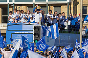 Brighton players arrive at Hove lawns on open top bus during the Brighton & Hove Albion Football Club Promotion Parade at Brighton Seafront, Brighton, United Kingdom on 14 May 2017. Photo by Phil Duncan.